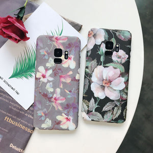 Retro Flower Plastic Phone Case Back Cover - Samsung Galaxy S9 Plus/S9/S8 Plus/S8, Samsung Note 9/Note 8 - halloladies