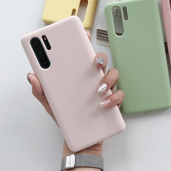 Candy Color Simple Soft TPU Phone Case Back Cover for Huawei Mate 30/P30/P20/Mate 20 Pro/Lite - halloladies