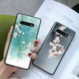 Soft TPU 3D Emboss Flower Phone Case Back Cover for Samsung A80/A70 - halloladies