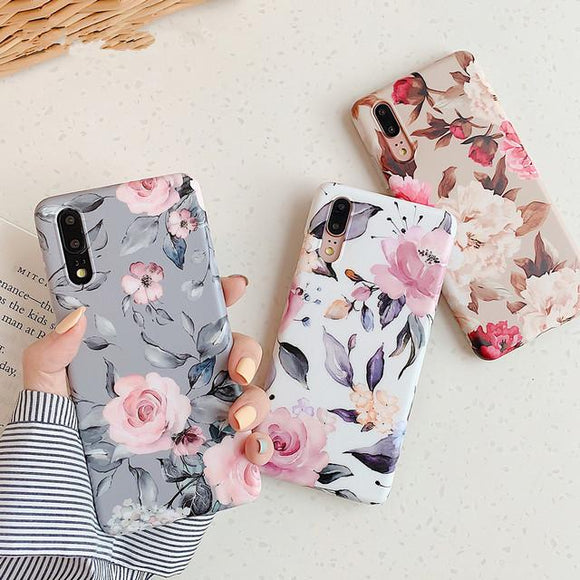 Retro Floral Leaf Mate Phone Case Back Cover for Huawei Mate 30/P30/P20/Mate 20 Pro/Lite - halloladies