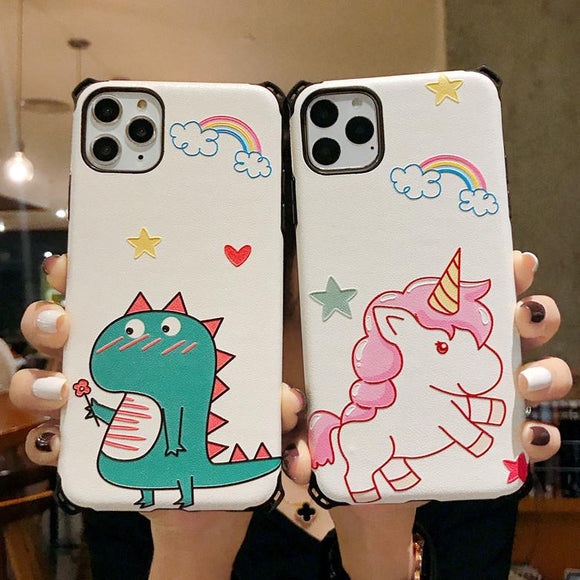 Cute Cartoon Rainbow Dinosaur Unicorn Phone Case Back Cover for iPhone 11 Pro Max/11 Pro/11/XS Max/XR/XS/X/8 Plus/8/7 Plus/7 - halloladies