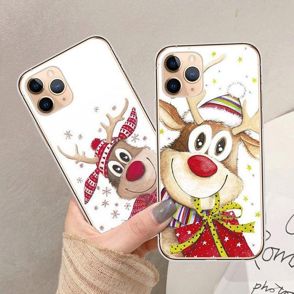 Cartoon Christmas Elk Phone Case Back Cover for iPhone 11/11 Pro/11 Pro Max/XS Max/XR/XS/X/8 Plus/8/7 Plus/7 - halloladies
