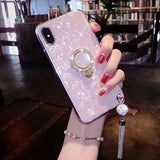 Luxury Pearl Ring Holder Tassel Shell Phone Case Back Cover for iPhone 11 Pro Max/11 Pro/11/XS Max/XR/XS/X/8 Plus/8/7 Plus/7 - halloladies