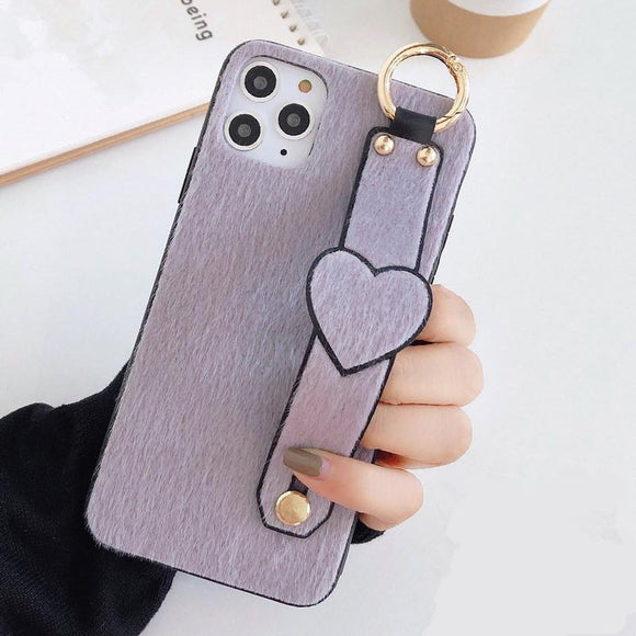 Solid Color Wrist Strap Plush Love Heart Soft Phone Case Back Cover - iPhone 12 Pro Max/12 Pro/12/12 Mini/SE/11 Pro Max/11 Pro/11/XS Max/XR/XS/X/8 Plus/8 - halloladies