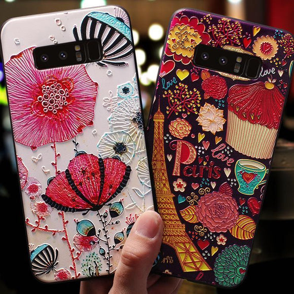 3D Embossment Colorful Flower Retro Phone Case Back Cover for Samsung Galaxy S10E/S10 Plus/S10/S9 Plus/S9/S8 Plus/S8/Note 8/Note 9 - halloladies
