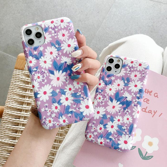 Cute Daisy Flower Soft Phone Case Back Cover for iPhone 12 Pro Max/12 Pro/12/12 Mini/SE/11 Pro Max/11 Pro/11/XS Max/XR/XS/X/8 Plus/8 - halloladies