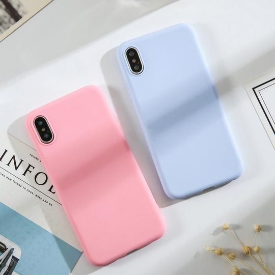 Fashion Candy Color Soft TPU Phone Case Back Cover for iPhone XS Max/XR/XS/X/8 Plus/8/7 Plus/7/6s Plus/6s/6 Plus/6 - halloladies