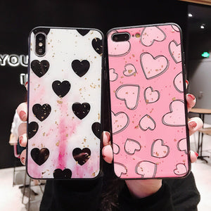Gold Foil Love Heart Phone Case Back Cover - Xiaomi and Redmi - halloladies