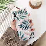 Fashion Glitter Conch Shell Green Leaf Silicone Phone Case Back Cover for iPhone XS Max/XR/XS/X/8 Plus/8/7 Plus/7/6s Plus/6s/6 Plus/6 - halloladies
