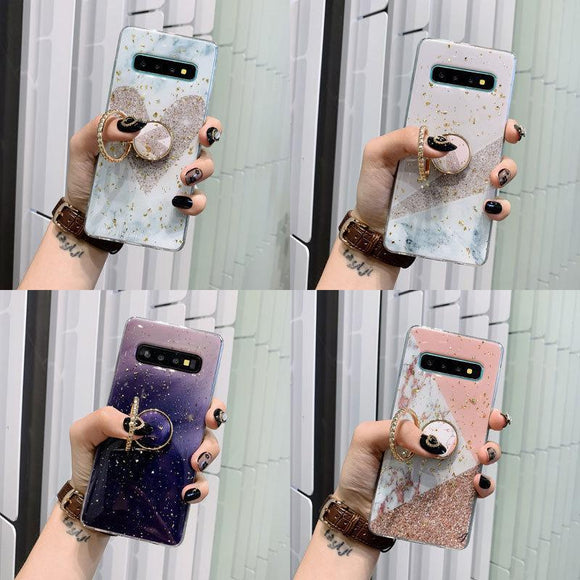 Gold Foil Marble Finger Ring Stand Soft Phone Case Back Cover - Samsung Galaxy S10E/S10 Plus/S10/S9 Plus/S9/S8 Plus/S8, Samsung Note 10 Pro/Note 10/Note 9/Note 8 - halloladies