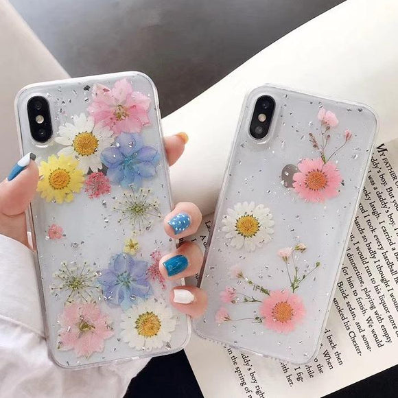 Dried Daisy Flower Pattern Phone Case Back Cover for iPhone 12 Pro Max/12 Pro/12/12 Mini/SE/11 Pro Max/11 Pro/11/XS Max/XR/XS/X/8 Plus/8 - halloladies