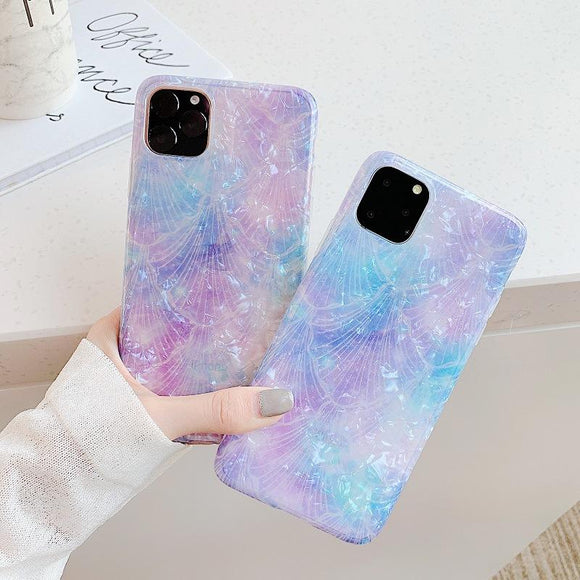 Simple Gradient Color Marble Shell Silicone iPhone Case Back Cover for iPhone 11 Pro Max/11 Pro/11/XS Max/XR/XS/X/8 Plus/8/7 Plus/7 - halloladies