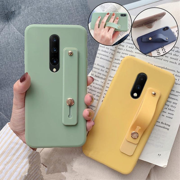 Candy Color Wrist Band Holder Silicone Phone Case Back Cover - OnePlus 7 Pro/7/6T/6 - halloladies