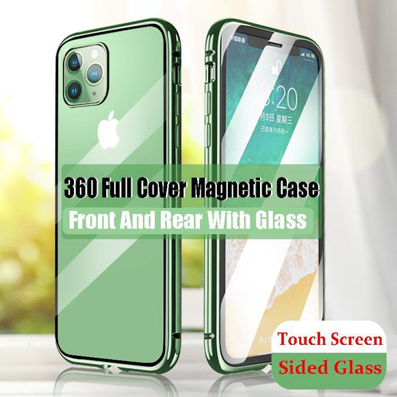 Luxury 360 Magnetic Metal Two Side Tempered Glass Phone Case Back Cover for iPhone 11 Pro Max/11 Pro/11/XS Max/XR/XS/X/8 Plus/8/7 Plus/7/6s Plus/6s/6 Plus/6 - halloladies