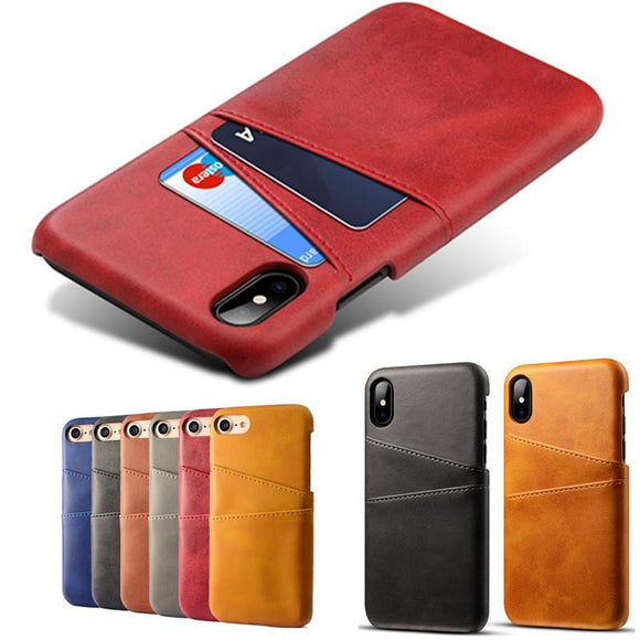 Luxury PU Leather Card Holder Slots Phone Case Back Cover - iPhone XS Max/XR/XS/X/8 Plus/8/7 Plus/7/6s Plus/6s/6 Plus/6 - halloladies