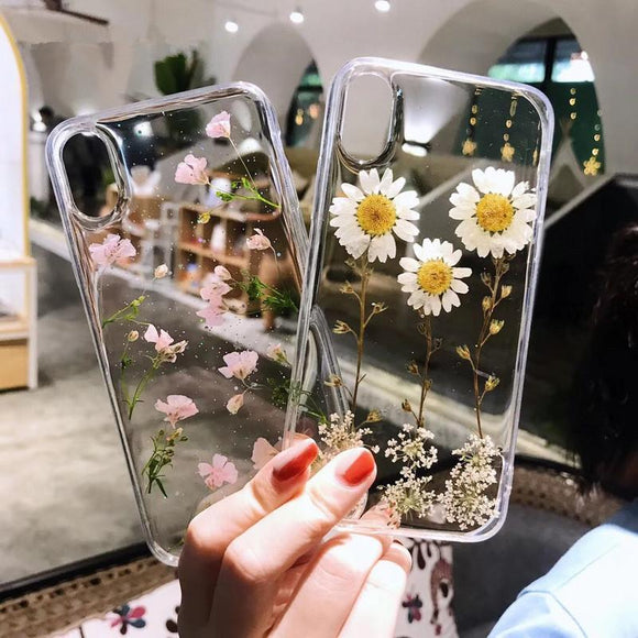 Glitter Real Dried Flowers Transparent Soft TPU Phone Case Back Cover - iPhone 12 Pro Max/12 Pro/12/12 Mini/SE/11 Pro Max/11 Pro/11/XS Max/XR/XS/X/8 Plus/8 - halloladies