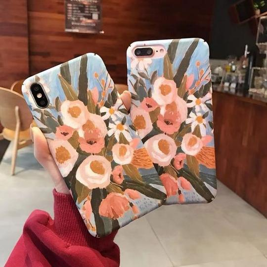 Retro Oil Painting Flowers PC Phone Case Back Cover for iPhone XS Max/XR/XS/X/8 Plus/8/7 Plus/7/6s Plus/6s/6 Plus/6 - halloladies
