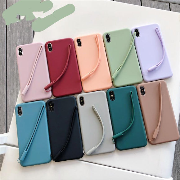 Candy Color Strap TPU Phone Case Back Cover for iPhone 11/11 Pro/11 Pro Max/XS Max/XR/XS/X/8 Plus/8/7 Plus/7 - halloladies