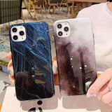Simple Marble Texture Starry Sky Phone Case Back Cover - iPhone 11 Pro Max/11 Pro/11/XS Max/XR/XS/X/8 Plus/8/7 Plus/7 - halloladies
