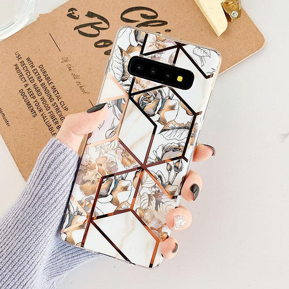 Luxury Plated Floral Geometric Patchwork Soft Phone Case Back Cover for Samsung Galaxy S10E/S10 Plus/S10/S9 Plus/S9/S8 Plus/S8/Note 10 Pro/Note 10/Note 9/Note 8 - halloladies