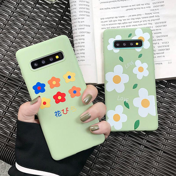 Simple Wildflower Soft Phone Case Back Cover - Samsung Galaxy S10E/S10 Plus/S10/S9 Plus/S9/S8 Plus/S8, Samsung Note 9/Note 8 - halloladies