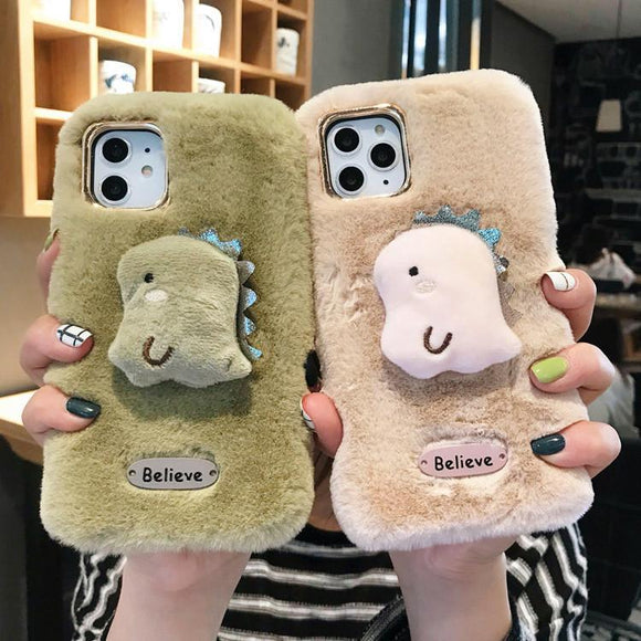 3D Cartoon Cute Dinosaur Believe Warm Plush Soft TPU Phone Case Back Cover for iPhone 11/11 Pro/11 Pro Max/XS Max/XR/XS/X/8 Plus/8/7 Plus/7 - halloladies