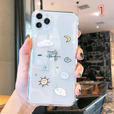 Cute Scrawl Transparent Soft Phone Case Back Cover - iPhone 11/11 Pro/11 Pro Max/XS Max/XR/XS/X/8 Plus/8/7 Plus/7 - halloladies