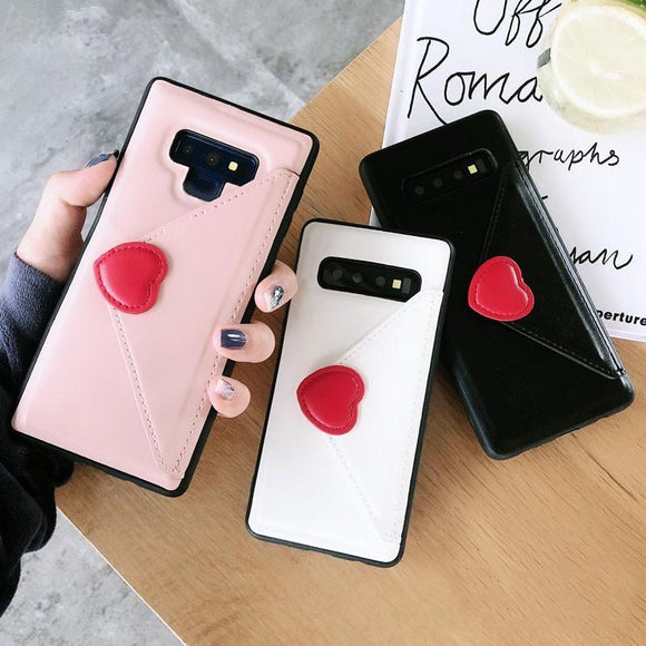 Fashion Leather Love Heart Wallet Card Holder Phone Case Back Cover - Samsung Galaxy S10E/S10 Plus/S10/S9 Plus/S9/S8 Plus/S8/Note9/Note8 - halloladies