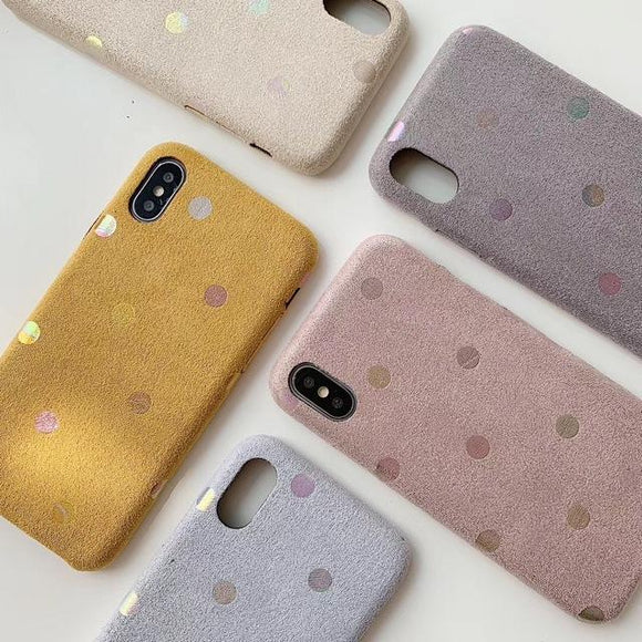 Simple Solid Color Dot Fabric Phone Case Back Cover - iPhone 11 Pro Max/11 Pro/11/XS Max/XR/XS/X/8 Plus/8/7 Plus/7 - halloladies