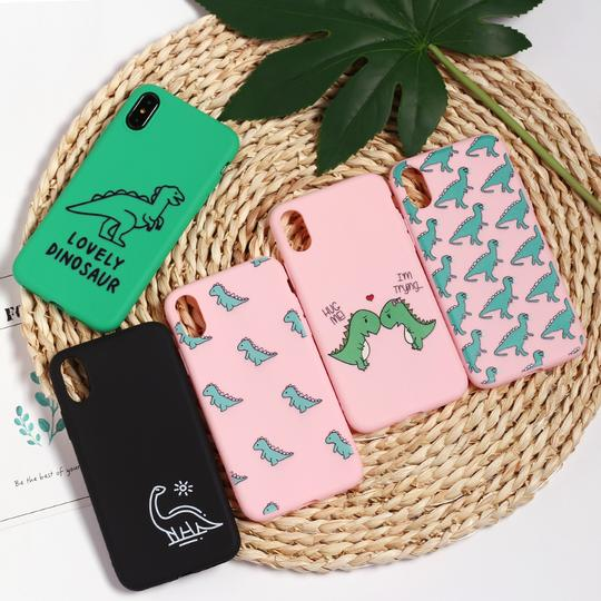 Cute Cartoon Dinosaur Pattern Phone Case Back Cover for IPhone XS Max/XR/XS/X/8 Plus/8/7 Plus/7/6s Plus/6s/6 Plus/6 - halloladies