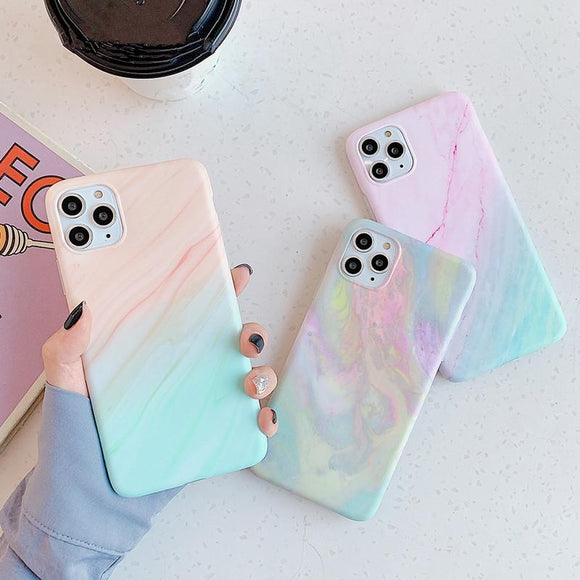 Vintage Gradual Color Marble Soft Phone Case Back Cover - iPhone 12 Pro Max/12 Pro/12/12 Mini/SE/11 Pro Max/11 Pro/11/XS Max/XR/XS/X/8 Plus/8 - halloladies