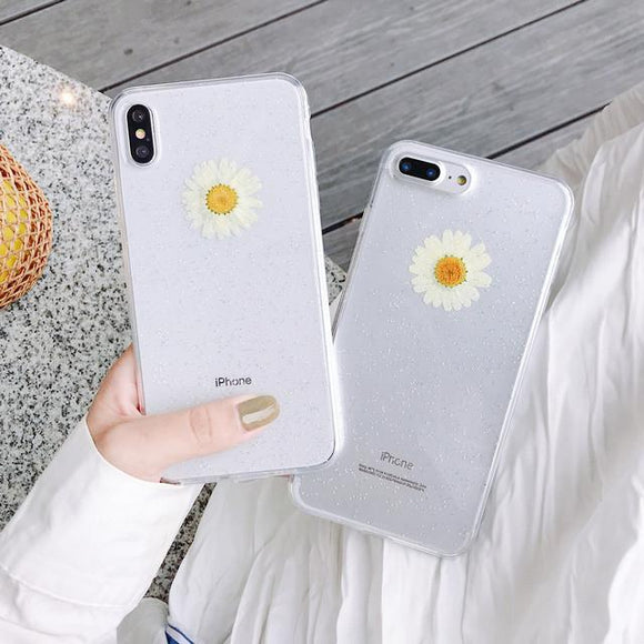 Real Daisy Dried Flowers Glitter Soft TPU Phone Case Back Cover for iPhone XS Max/XR/XS/X/8 Plus/8/7 Plus/7/6s Plus/6s/6 Plus/6 - halloladies