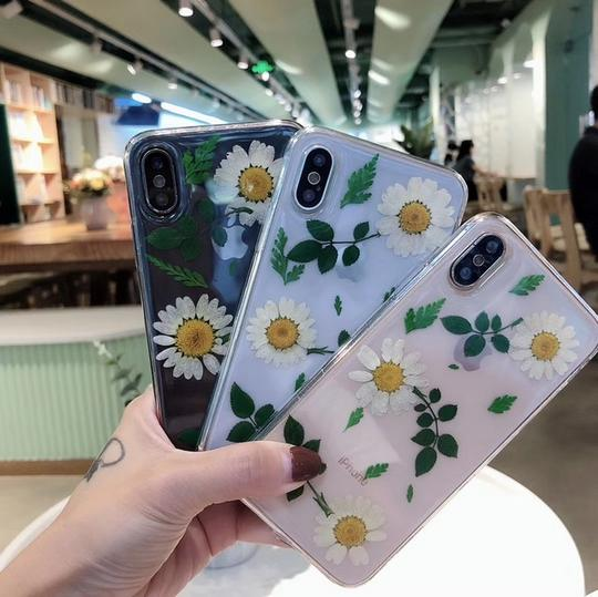 Real Dried Daisy Flower Leaf Clear Phone Case Back Cover for iPhone 11/11 Pro/11 Pro Max/XS Max/XR/XS/X/8 Plus/8/7 Plus/7 - halloladies