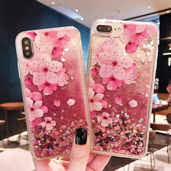 Glitter Liquid Dynamic Quicksand Flowers Phone Case Back Cover - iPhone 11 Pro Max/11 Pro/11/XS Max/XR/XS/X/8 Plus/8/7 Plus/7 - halloladies