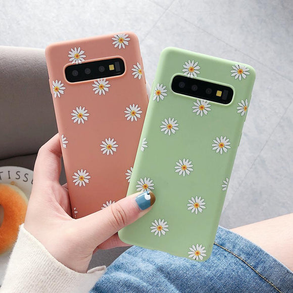 Cartoon Daisy Flower Soft Silicone Samsung Case Back Cover for Samsung Galaxy S10E/S10 Plus/S10/S9 Plus/S9/S8 Plus/S8/Note9/Note8 - halloladies