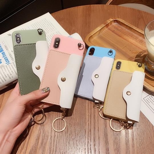 Solid Color Card Slot Handbag with Long Lanyard Phone Case Back Cover for iPhone 11/11 Pro/11 Pro Max/XS Max/XR/XS/X/8 Plus/8/7 Plus/7 - halloladies