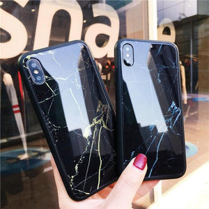 Creative Marble Tempered Glass Phone Case Back Cover for iPhone XS Max/XR/XS/X/8 Plus/8/7 Plus/7/6s Plus/6s/6 Plus/6 - halloladies