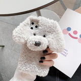Warm Furry Cartoon Teddy Dog Phone Case Back Cover for iPhone 11 Pro Max/11 Pro/11/XS Max/XR/XS/X/8 Plus/8/7 Plus/7 - halloladies