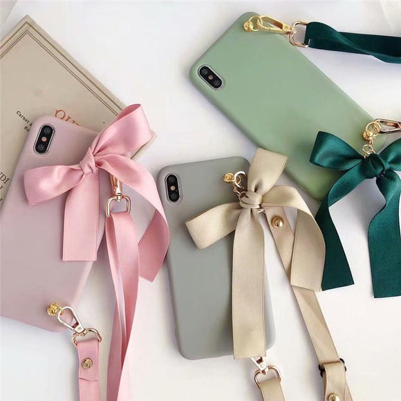 Fashion Candy Color Bowknot Crossbody Lanyard Strap Soft TPU Phone Case Back Cover for iPhone 11/11 Pro/11 Pro Max/XS Max/XR/XS/X/8 Plus/8/7 Plus/7 - halloladies