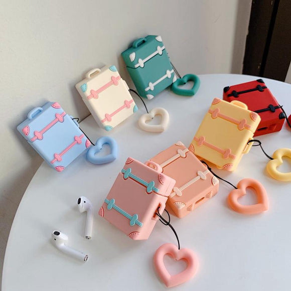 Cute Suitcase with Love Heart Finger Ring Strap Airpods Case Wireless Bluetooth Earphone Cases for Airpods - halloladies
