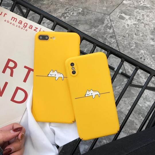 Simple Yellow Lazy Cat Hard PC Phone Case Back Cover for iPhone 11 Pro Max/11 Pro/11/XS Max/XR/XS/X/8 Plus/8/7 Plus/7/6s - halloladies