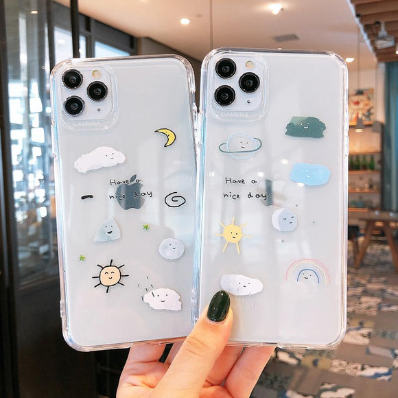 Cute Scrawl Transparent Soft Phone Case Back Cover - iPhone 12 Pro Max/12 Pro/12/12 Mini/SE/11 Pro Max/11 Pro/11/XS Max/XR/XS/X/8 Plus/8 - halloladies