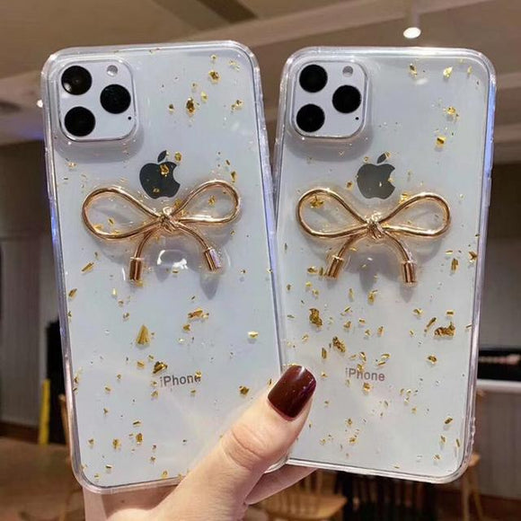 Transparent Shiny Gold Glitter Bowknot Phone Case Back Cover for iPhone 11 Pro Max/11 Pro/11/XS Max/XR/XS/X/8 Plus/8/7 Plus/7 - halloladies