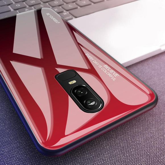 Gradient Tempered Glass Phone Case Back Cover - OnePlus 7 Pro/7/6T/6 - halloladies