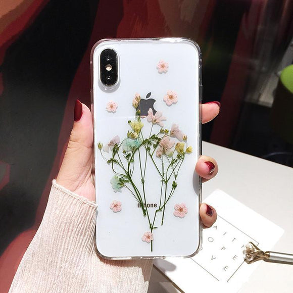 Dried Real Flower Handmade Clear Phone Case Back Cover - IPhone XS Max/XR/XS/X/8 Plus/8/7 Plus/7/6s Plus/6s/6 Plus/6 - halloladies