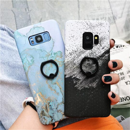 Marble Retro Ring Grip Stand Holder Hard PC Phone Case Back Cover for Samsung Galaxy S10E/S10 Plus/S10/S9 Plus/S9/S8 Plus/S8/Note 9/Note 8 - halloladies