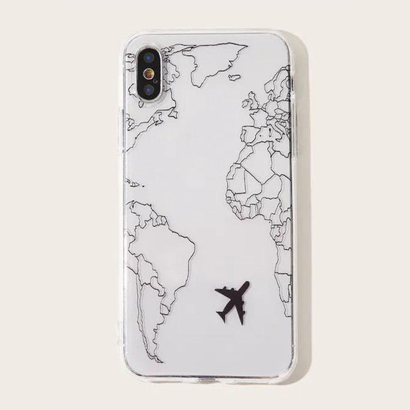 Popular Planes Map Designs Soft Phone Case Back Cover - iPhone 11/11 Pro/11 Pro Max/XS Max/XR/XS/X/8 Plus/8/7 Plus/7 - halloladies