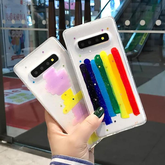 Fashion Rainbow Clear Soft TPU Phone Case Back Cover for Samsung Galaxy S10E/S10 Plus/S10/S9 Plus/S9/S8 Plus/S8/Note9/Note8 - halloladies