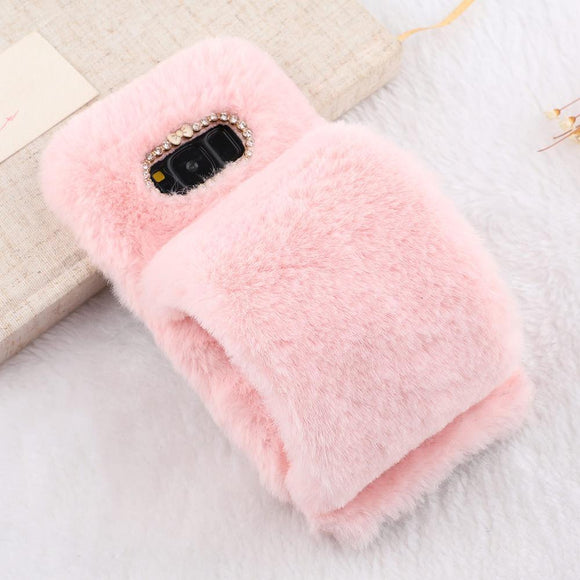 Luxury Wrist Band Furry Phone Case Back Cover - Samsung Galaxy S10E/S10 Plus/S10/S9 Plus/S9/S8 Plus/S8, Samsung Note 9/Note 8 - halloladies