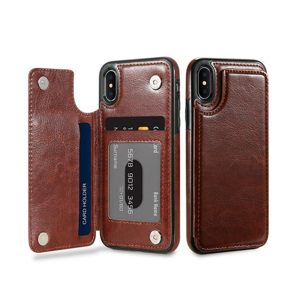 Card Slot Holder Leather Phone Case Back Cover - iPhone X/8 Plus/8/7 Plus/7/6s Plus/6s/6 Plus/6 - halloladies